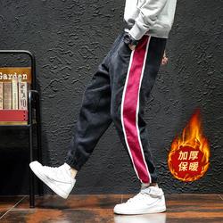 K813- P45加绒P50秋冬日系黑墙大码撞色灯芯绒加厚拼接九分小脚裤