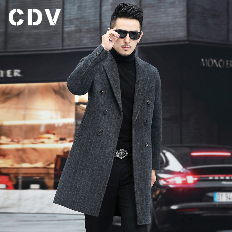 New double-sided woolen men's slim woolen woolen coat mid-length trench coat no cashmere casual jacket autumn