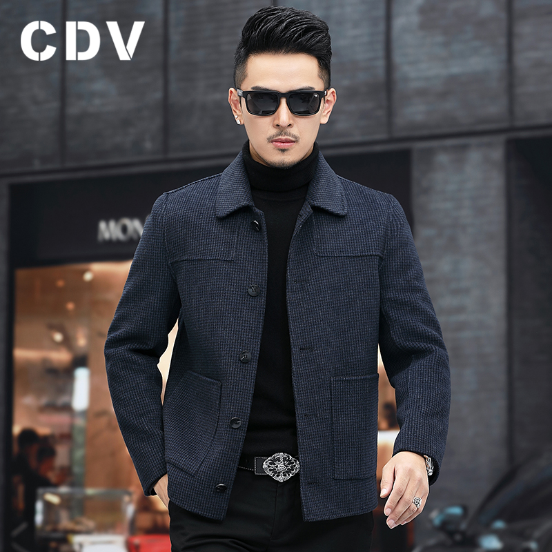 New double-sided woolen short fashion autumn and winter men's casual lapel no cashmere plaid woolen coat jacket