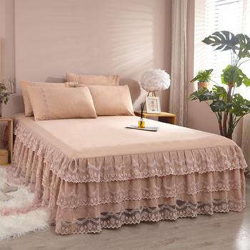 欧式蕾丝边床裙式床罩单件公主风花边薄款保护套1.8m床套防尘夏季