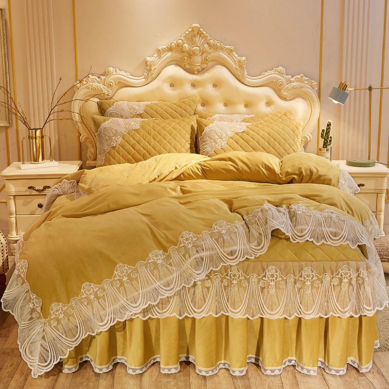 公主风夹棉床裙四件套加厚水晶绒保暖双面绒珊瑚绒1.8x2米1.5加绒