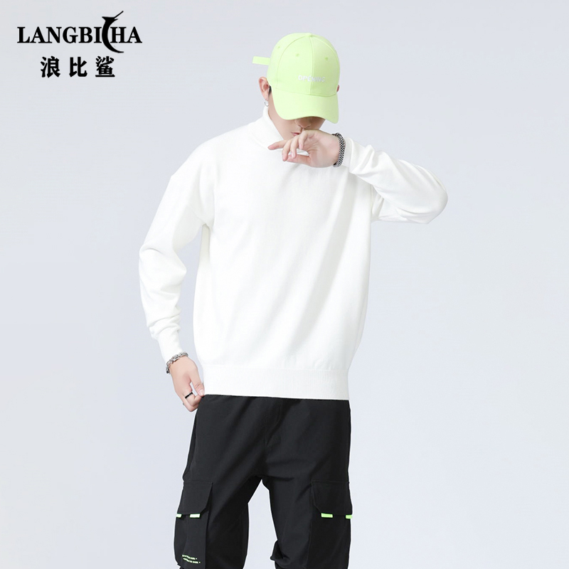 High neck sweater loose mens thick winter high Lapel hip hop lazy wind Korean fashion student round neck sweater man