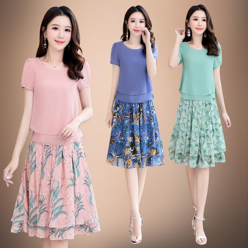 2021夏季短袖短裙两件套打底圆领韩版A字裙修身常规女装连衣裙