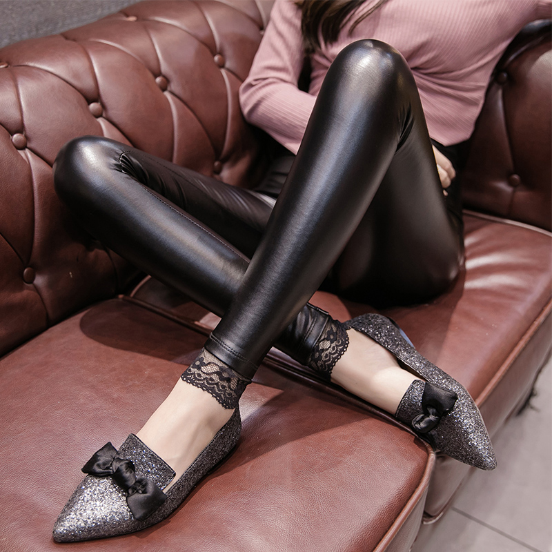 PU leather pants womens new high waist thin bottoming pants for autumn / winter 2019