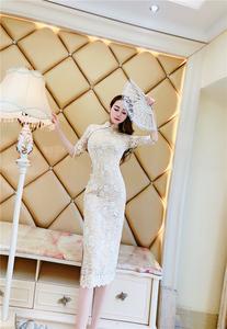 夏名媛气质优雅古典女人味修身改良开叉旗袍五分袖中长高档连衣裙