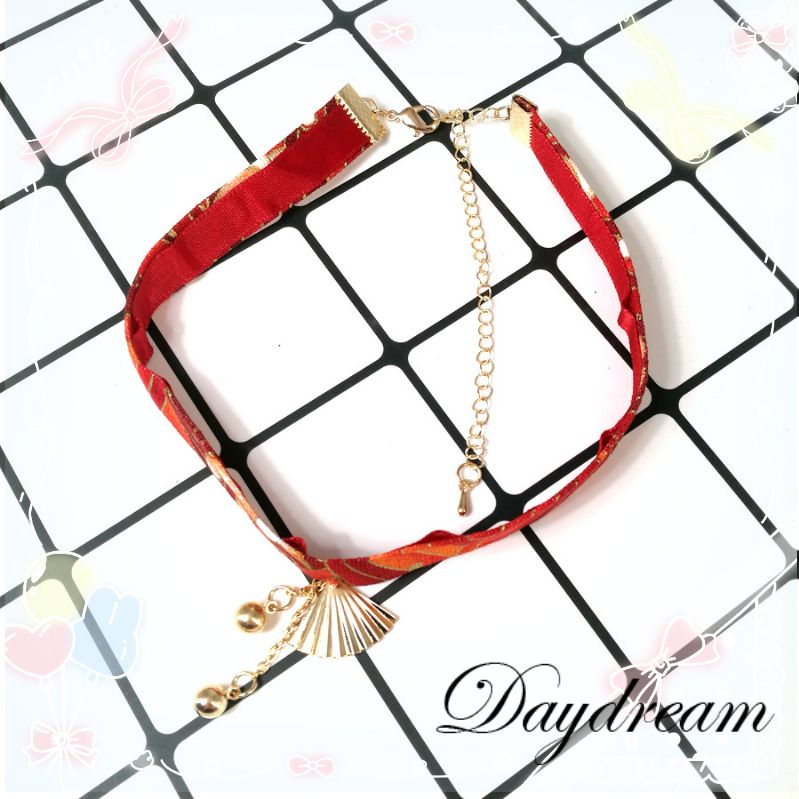 妹系软日韩版洛丽塔w少女和风扇子项链颈链饰品