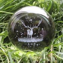 水晶球麋鹿星空透明创意装饰品玻璃球小摆件圆球可爱生日礼物女生