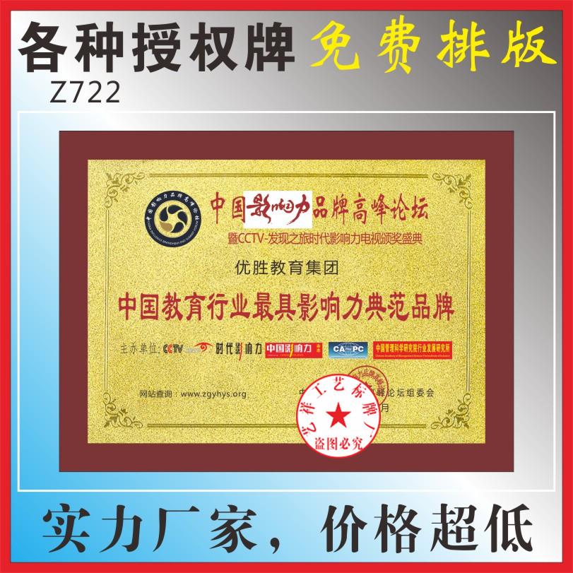 中国教育行业影响力典范品牌高档腐蚀荣誉奖牌铜牌制作教练员建材