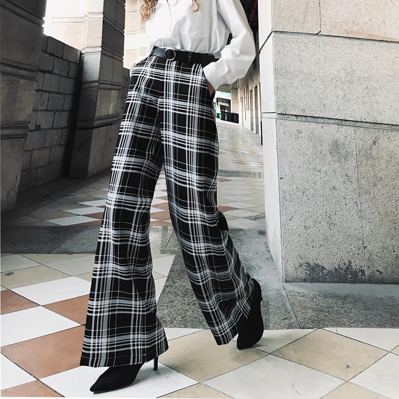 正品保证2019初秋新款坠感阔腿裤洋气时尚格子直筒裤女高腰显瘦时髦长裤子
