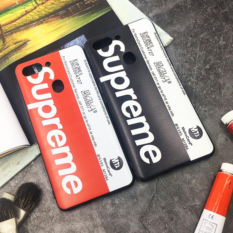 潮牌Sup纽约地铁卡OPPOR15手机壳R9splus软套时尚男女情侣款R11s