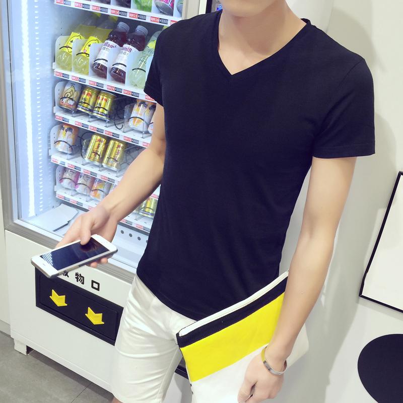 特价9.9元包邮男士短袖t恤v领纯黑白色打底衫大码夏季半袖上衣服T
