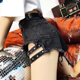 夏季韩版大码胖mm破洞牛仔短裤女装高腰宽松显瘦学生a字阔腿热裤