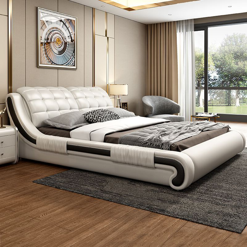 Bed light luxury leather bed modern simple master bedroom double bed 1.8m tatami soft bag bed Nordic storage wedding bed