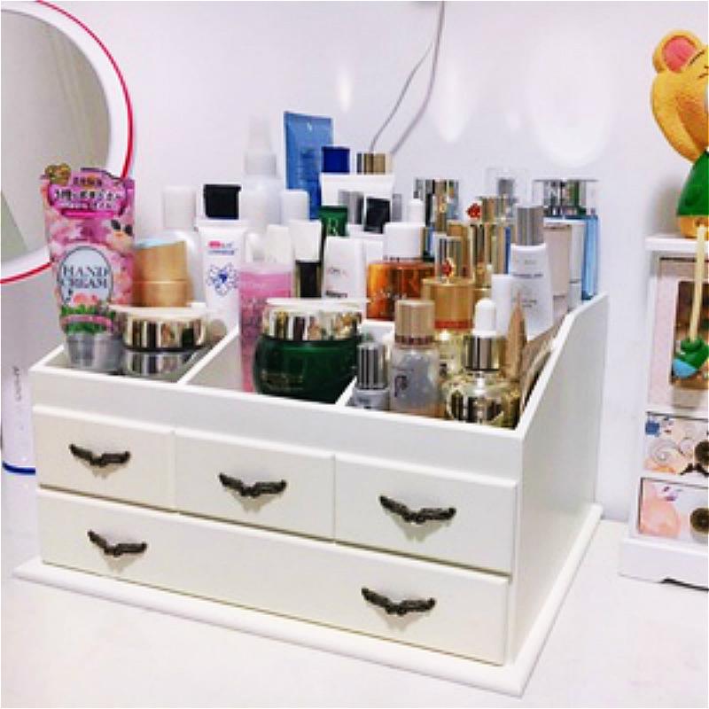 抽屉式木质首饰品置物架大号桌面梳妆台美甲箱欧化妆护肤品收纳盒图片