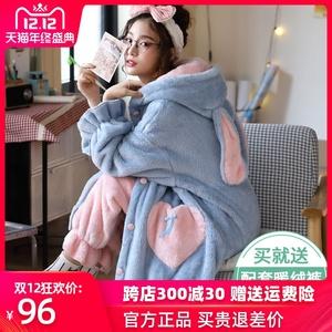 睡袍女秋冬季长款珊瑚绒睡衣加厚加绒浴袍法兰绒女睡裙家居服套装