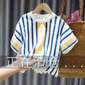 夏季新款男童条纹宽松短袖2020 t恤