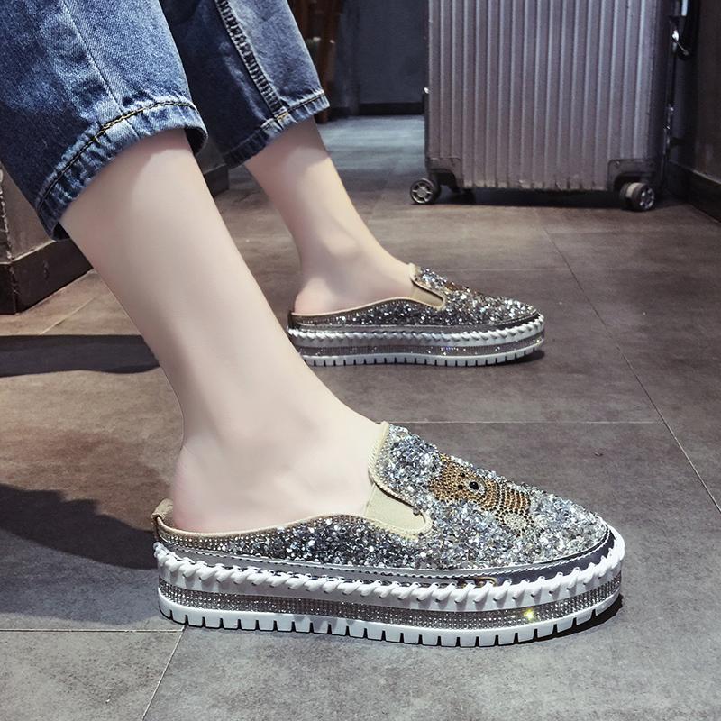 包头半拖鞋女外穿夏季女鞋时尚水钻百搭2020新款网红无后跟懒人鞋
