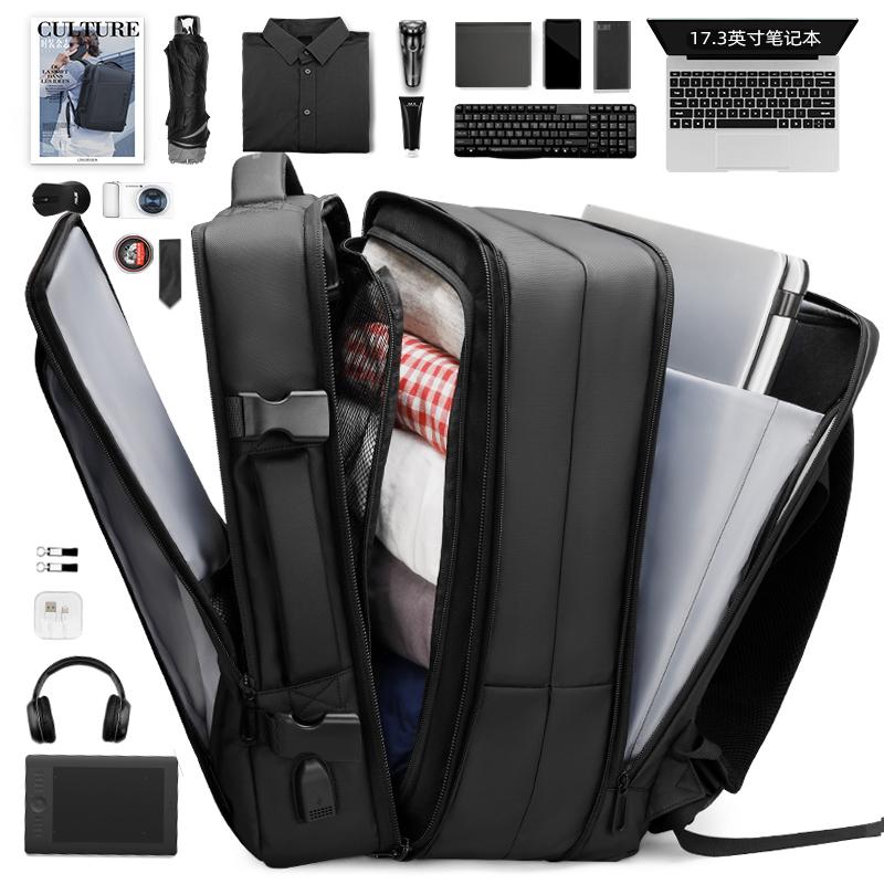 双肩包男士背包应急雨衣大容量出差旅行17寸笔记本电脑包商务书包图片
