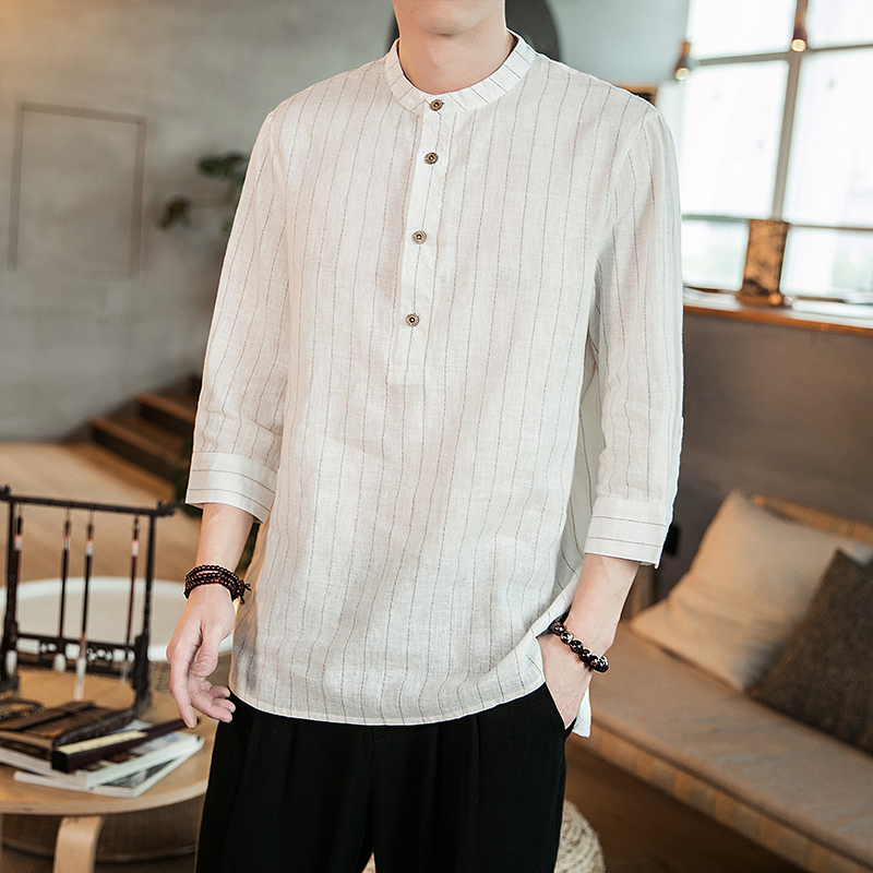 中国风新款春季条纹亚麻盘扣小立领七分袖衬衫QT4029-CS88-P45