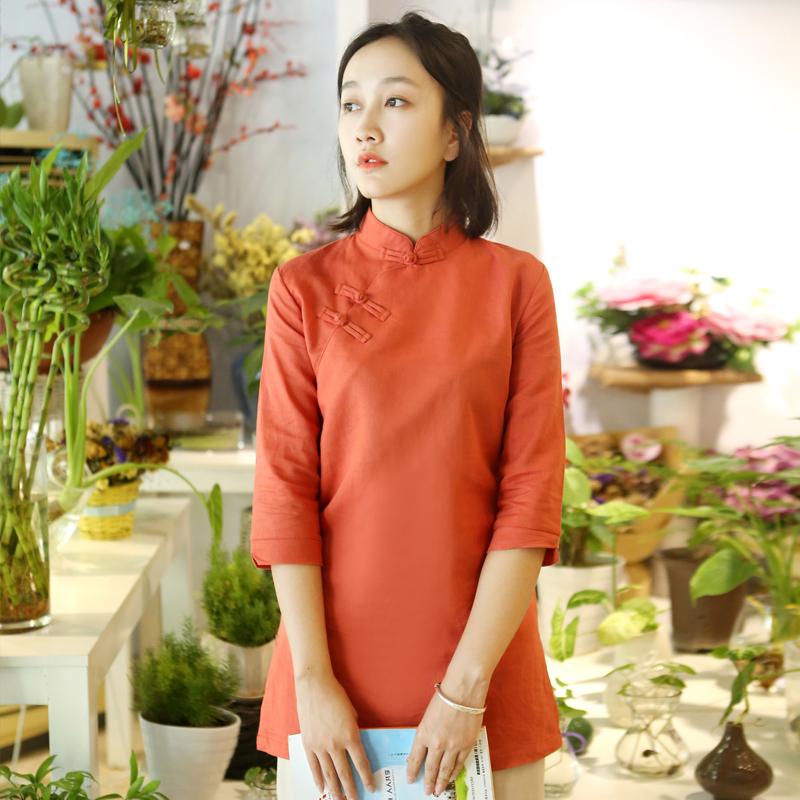 新款棉麻改良旗袍上衣唐装茶服女中国风立领复古盘扣中长中式女装