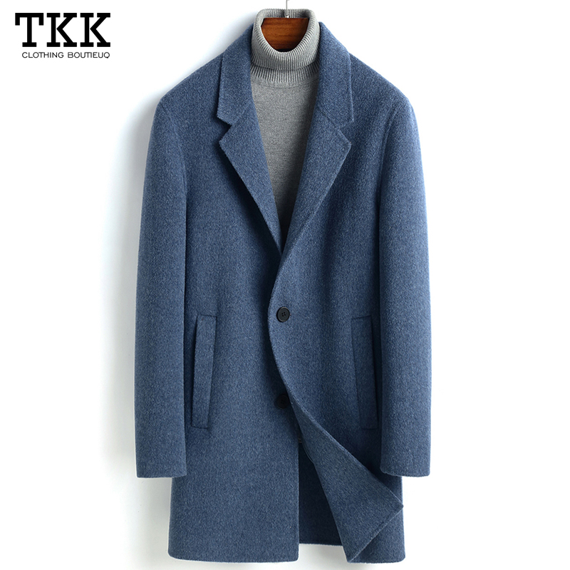 Autumn and winter new Albaka double-sided cashmere coat men's mid-length youth slim woolen coat trench coat