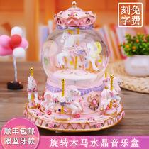 婚礼装扮创意生日蛋糕派对礼物diy旋转木马音乐盒蛋糕装饰摆件