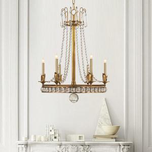 匠泽水晶铜吊灯美式餐吊灯豪宅餐用水晶吊灯具欧式卧室灯客厅灯