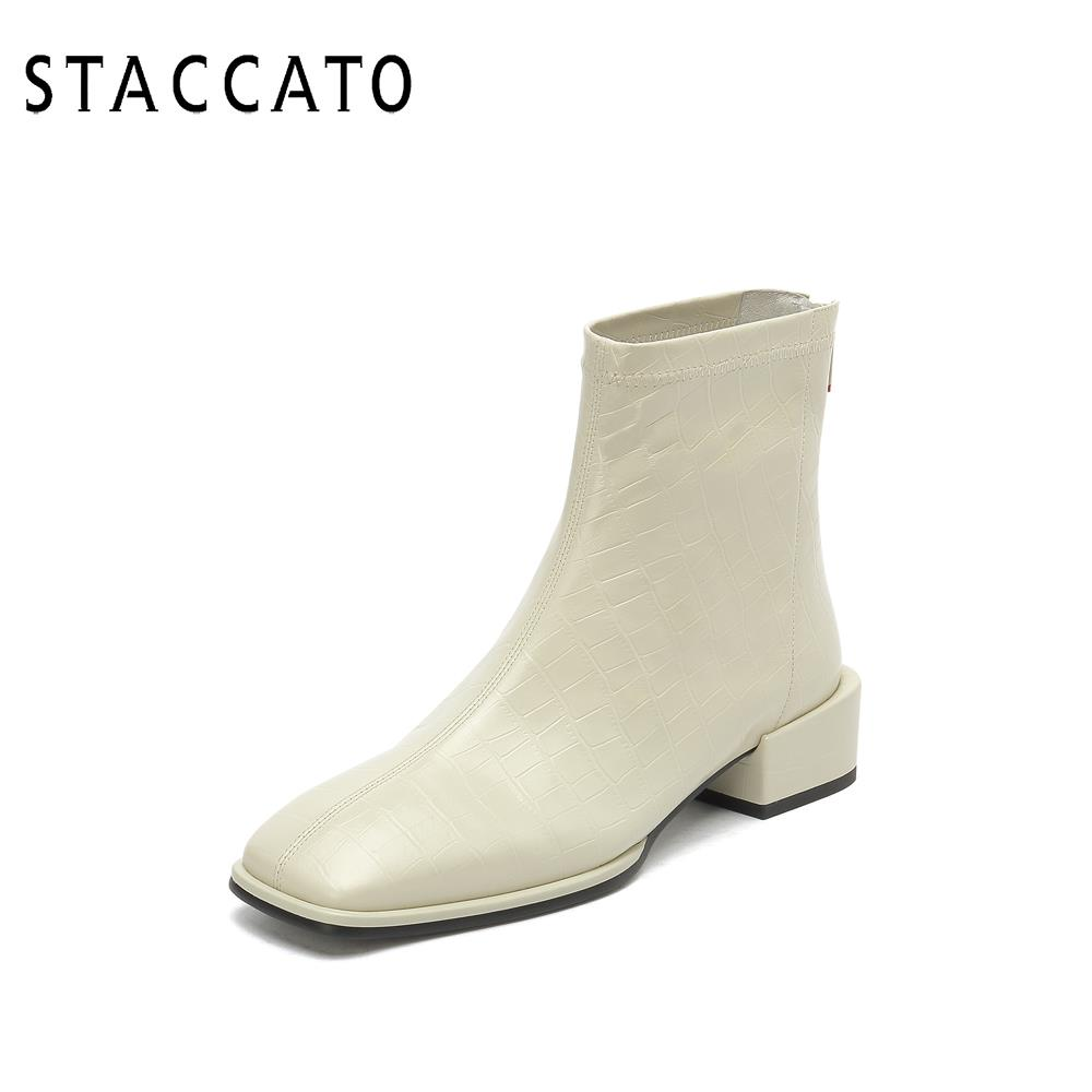 Scatto 2020 winter new cream shoes square toe crocodile pattern retro thick heel short boots women leather boots EAE08DD0