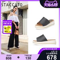 思加图2020夏季新款简约一字拖休闲厚底增高拖鞋女皮凉鞋9SG02BT0