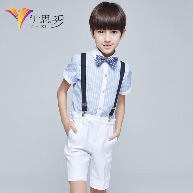 六一儿童花童礼服男童套装主持人钢琴演出服小学生背带裤表演服夏