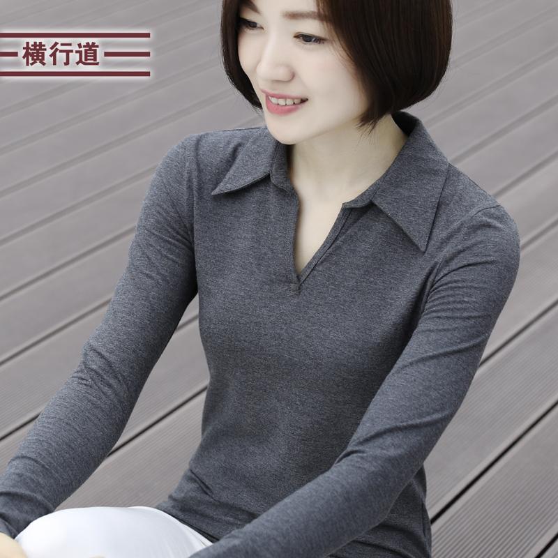 秋装新款有领衬衫领大码女装打底衫五折促销