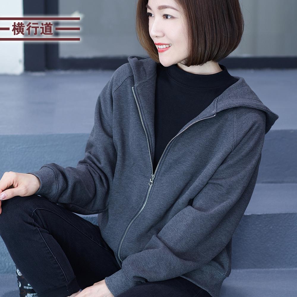 2020春装新款连帽全棉休闲大码女装宽松外套长袖纯棉黑色上衣外搭图片