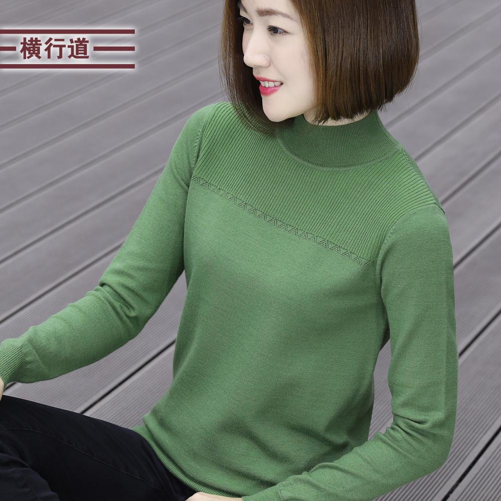 秋装外穿宽松羊毛衫套头毛衣打底衫女装半高领针织衫长袖上衣服