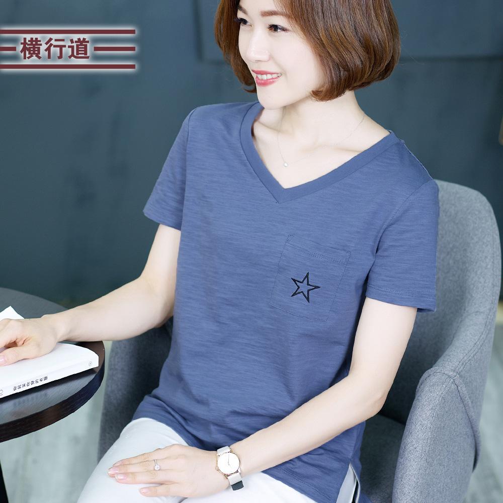 横行道夏装新款女装刺绣V领短袖五角星t恤宽松口袋纯色打底衫半袖