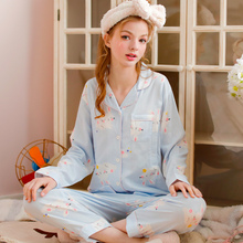 Monthly clothing Summer cotton thin gauze pregnant women breast-feeding pajamas maternal postpartum breast-feeding pregnancy spring and autumn cotton