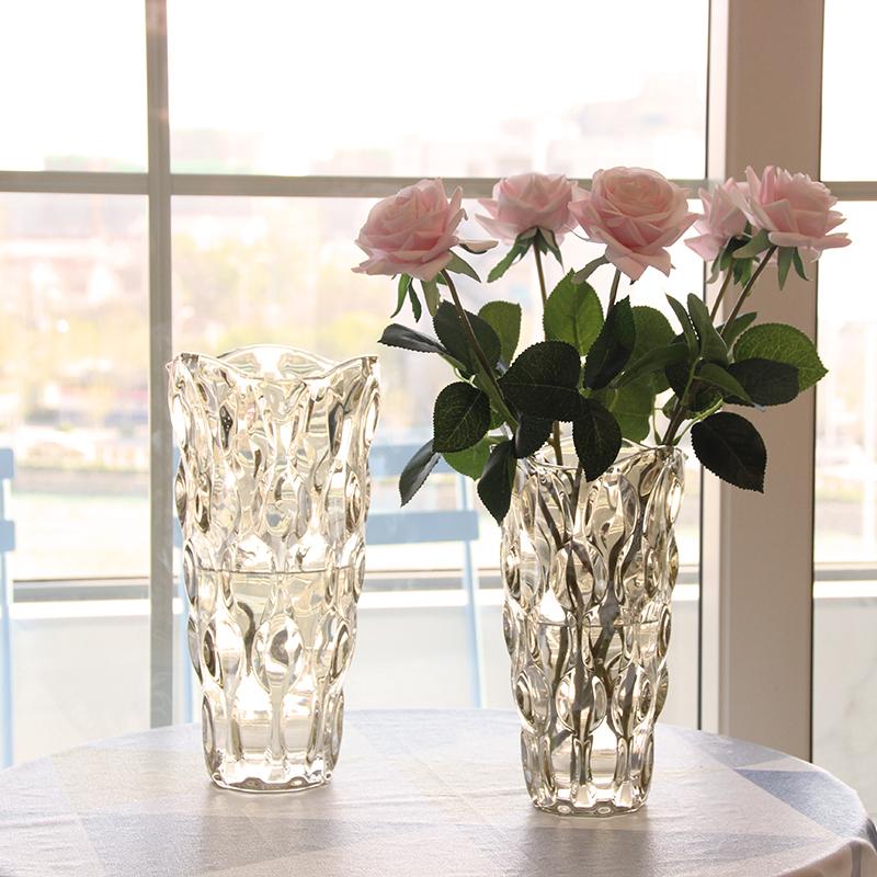 北欧轻奢水晶玻璃花瓶透明客厅酒店插花玫瑰百合鲜花装饰花器摆件