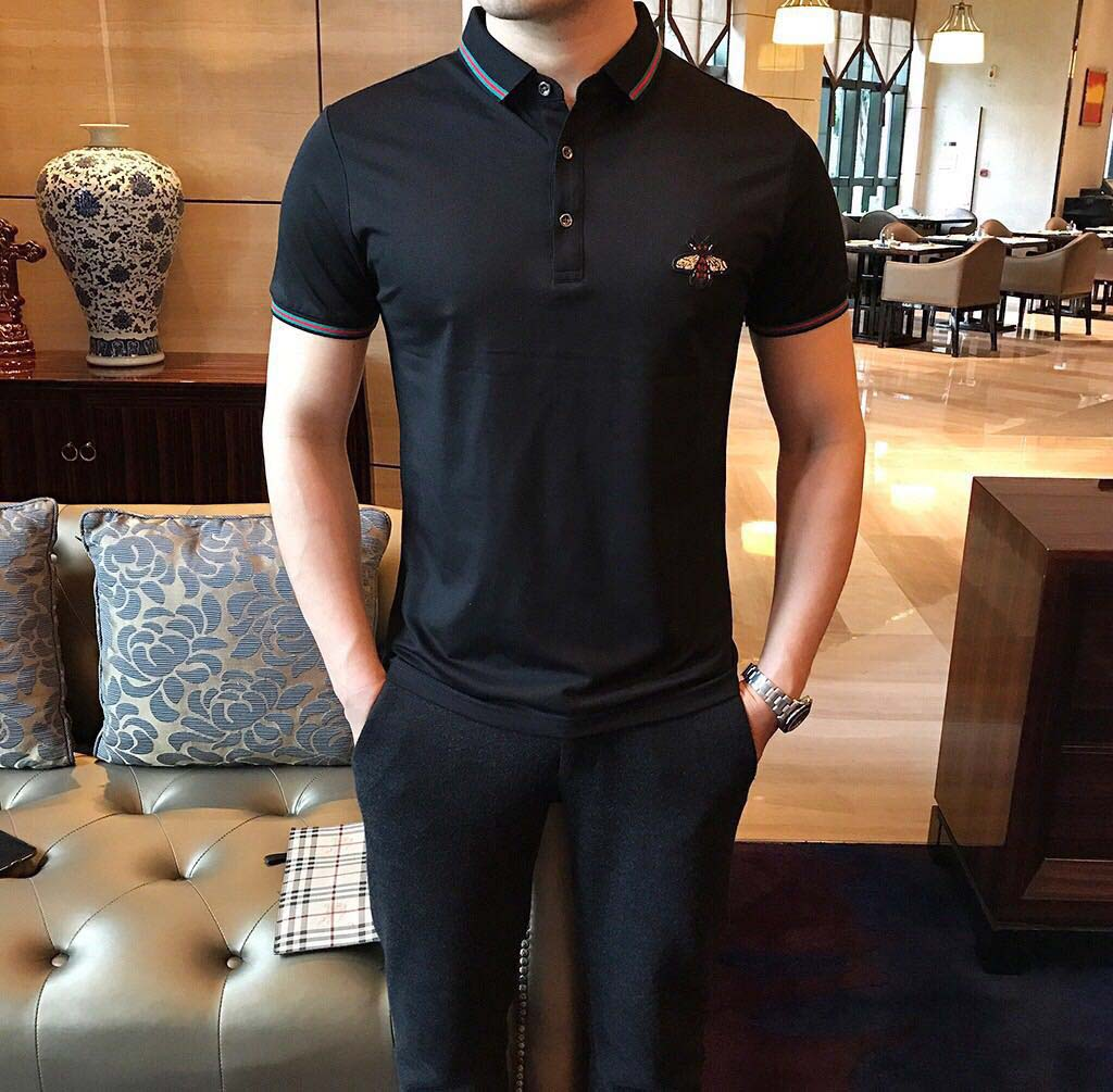 Cool GUCCL summer mens suit short sleeve T-shirt polo shirt Lapel business casual slim simple