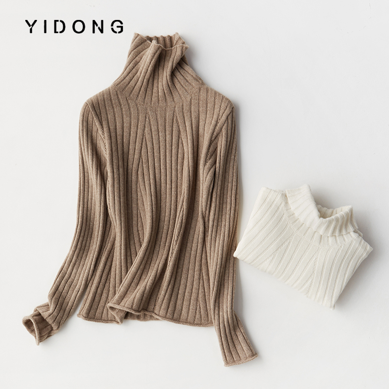 High end cashmere sweater womens 100% pure cashmere sweater womens big brand pit strip slim knit bottomed sweater made in Erdos