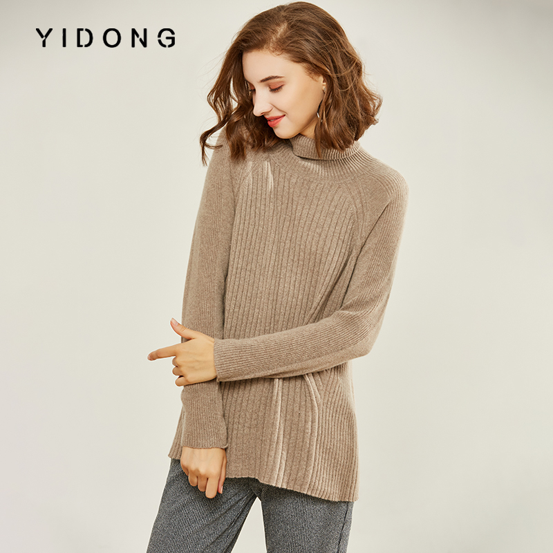 Edong eredos fashion cashmere sweater womens Pullover European high collar pure cashmere sweater womens foreign style thickening noble