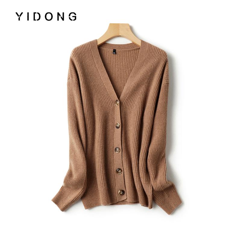 Yidong loose cashmere sweater womens 100 pure cashmere cardigan V-neck Yuanbao needle thickened cashmere sweater coat versatile