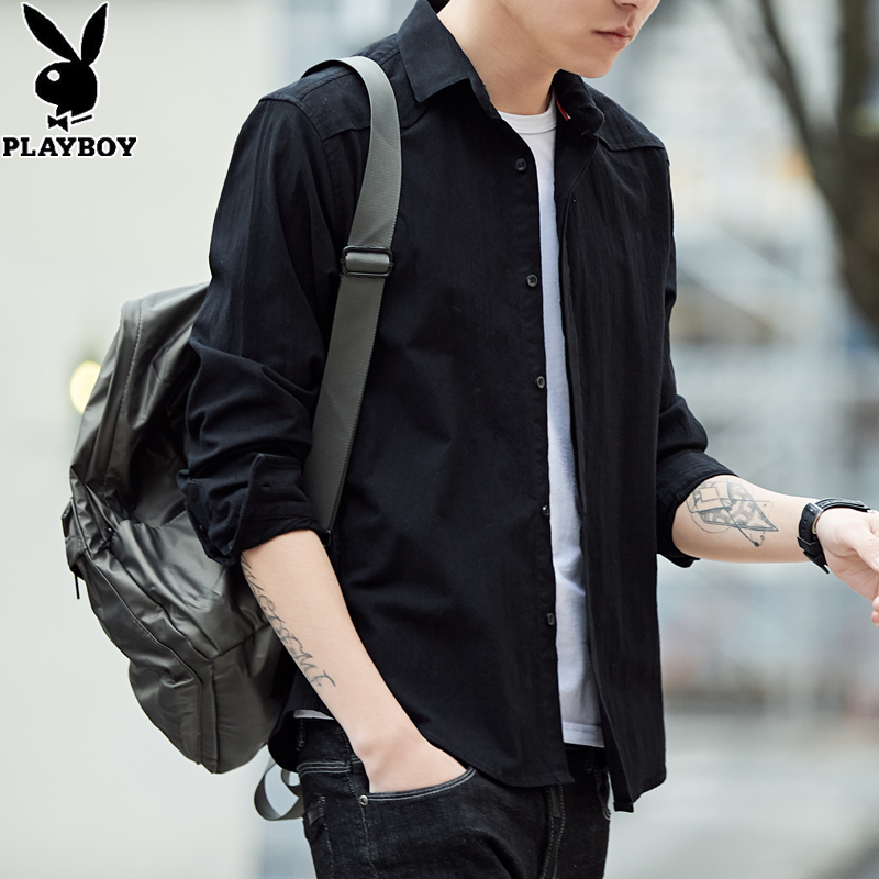 Playboy men's long-sleeved shirt spring and autumn jacket men's middle-aged and young non-iron jacket tooling cotton shirt