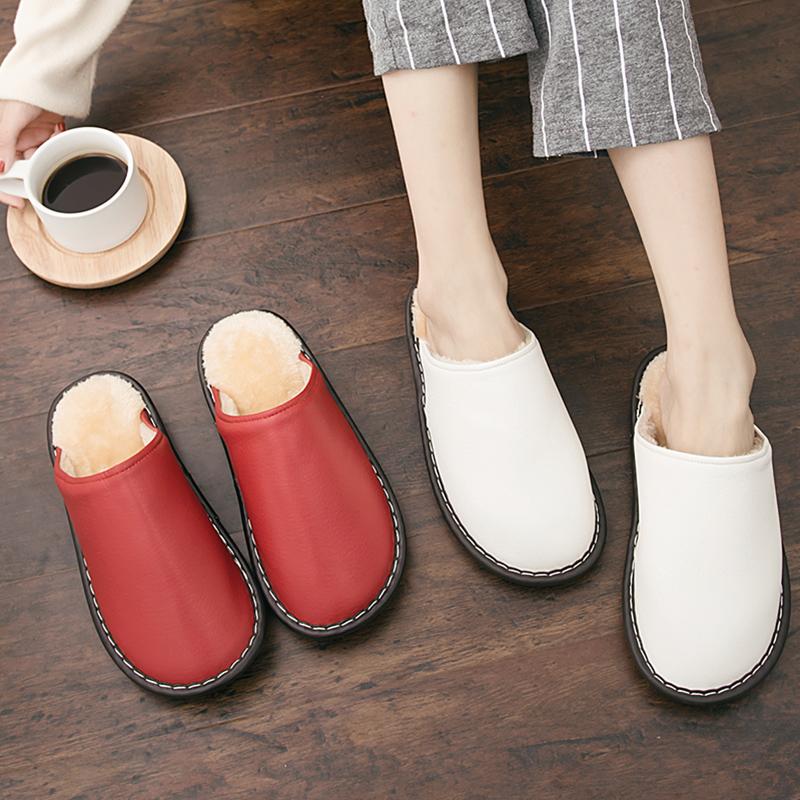 冬季韩版情侣棉拖鞋居家室内地板防滑软底保暖舒适纯色包头皮拖鞋