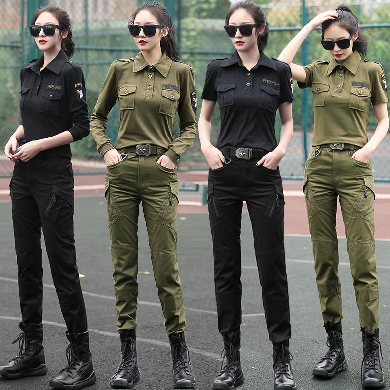 春夏季新款迷彩服套裝女顯瘦時尚彈力軍裝兩件套水兵舞服裝潮