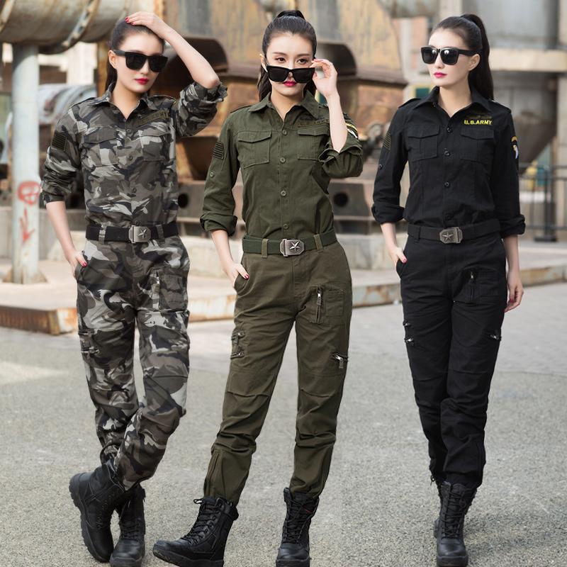 新款春秋季迷彩服套装女潮时尚显瘦军训绿色水兵舞演出服装工装男