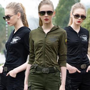 戶外軍綠色長袖t恤女休閑衣連帽修身顯瘦運動軍迷水兵舞服裝上衣