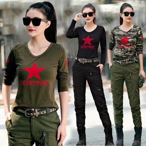 水兵舞服装女全新迷彩服套装新款演出服军绿色户外休闲衣裤两件套