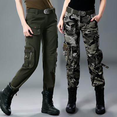 帅气迷彩裤女国潮工装裤宽松直筒bf风军绿色嘻哈hiphop长裤子军裤