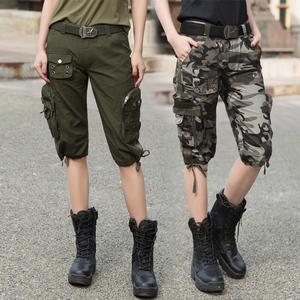 自由骑士户外军迷服饰水兵舞迷彩裤工装短裤女七分裤迷彩短裤宽松