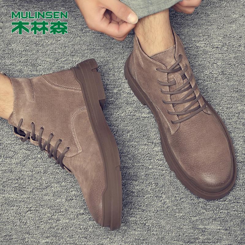 木林森马丁靴男冬季加绒保暖高帮工装男鞋中帮英伦雪地潮鞋棉靴子