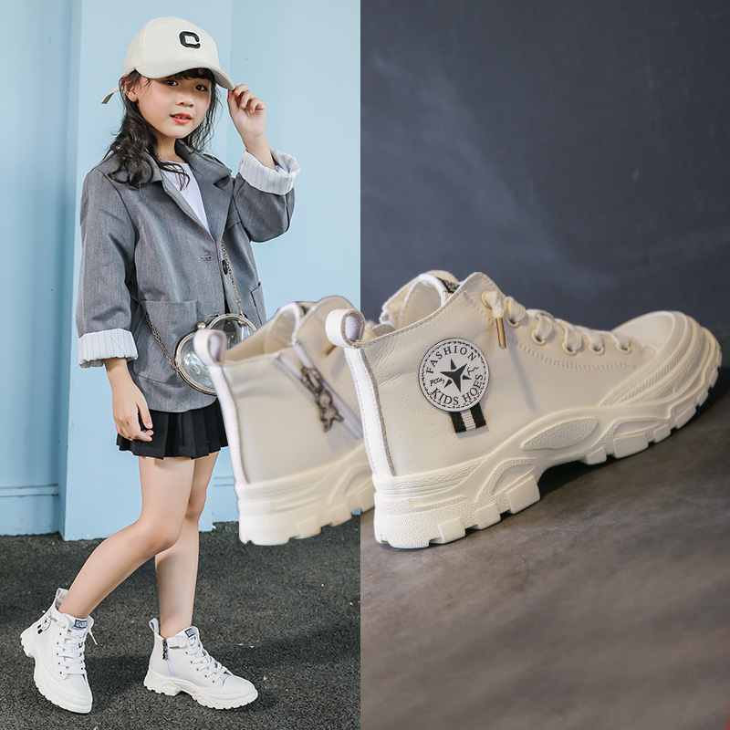 Girls Martin boots autumn and winter 2019 new childrens boots leather Plush middle school childrens English girls boots